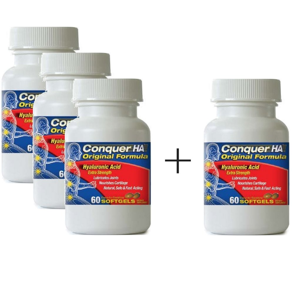 Conquer HA Original Formula Patented form of Hyaluronic Acid to reduce pain, improve mobility, flexibility and joint function. (Buy 3 Get 1 Free)
