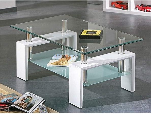 HOGAR24 - Mesa de Centro de Cristal con Patas de Madera, Color ...