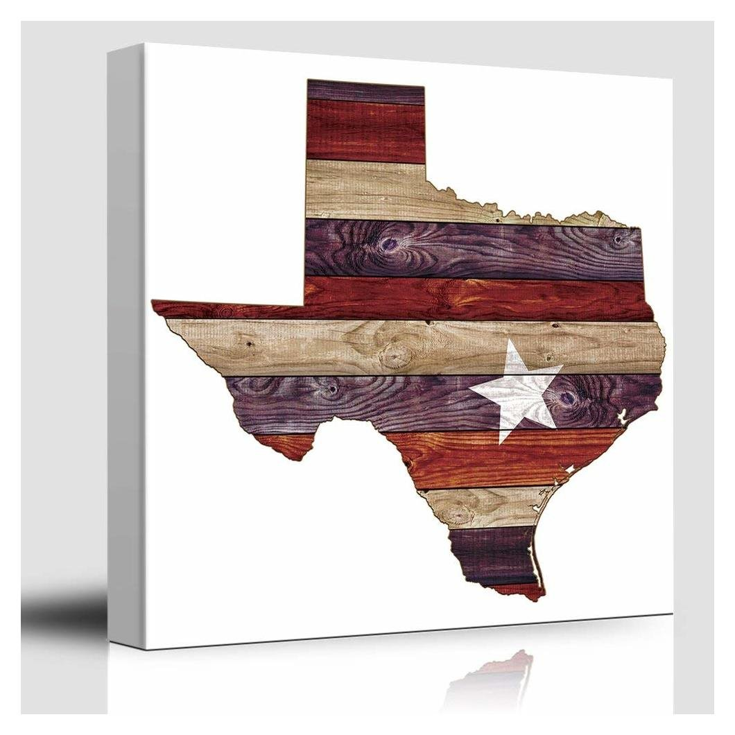 wall26 - Austin Star Red White and Blue - Texas Rustic State - Country Western - Cowboy Wood Background Texture - Canvas Art Home Decor - 16x16 inches