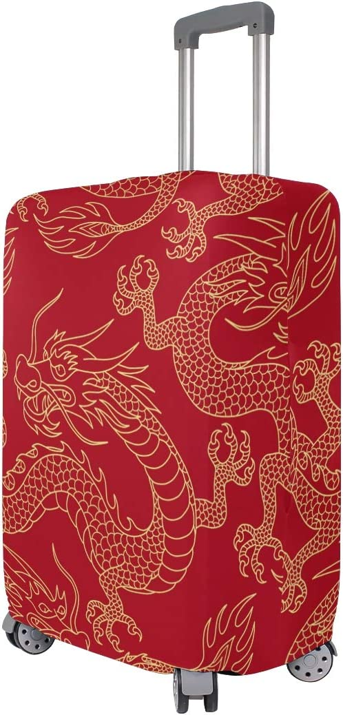 Baggage Covers China Myth Golden Dragon Red Washable Protective Case
