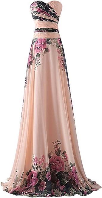 Abiti Da Cerimonia Floreali.Emmarcon Abito Da Cerimonia Donna In Chiffon Damigella Vestito