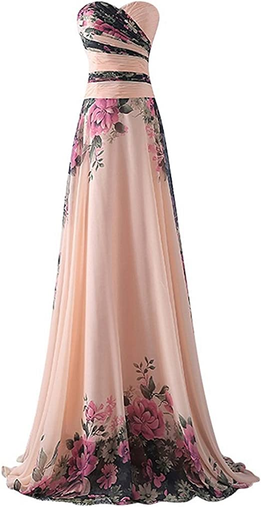 Abiti Da Cerimonia.Emmarcon Abito Da Cerimonia Donna In Chiffon Damigella Vestito Lungo Elegante Floreale Da Festa Party Amazon It Abbigliamento
