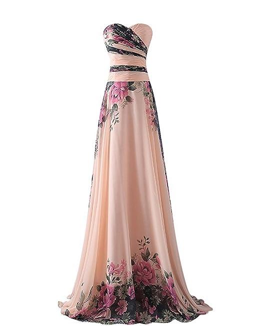 abito da cerimonia donna in chiffon damigella vestito lungo elegante floreale  da festa party,Pink