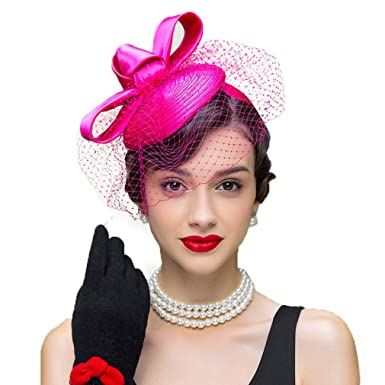 Womens Fascinator Rose Wedding Dress Hats Pillbox Hat with Veil Bow ... ab70a96f6e6