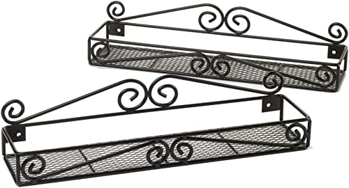 Unum Wall Mounted Spice Rack Organizers – Set of 2 Black Metal Hanging Shelf for Spices – Cupboard, Kitchen or Pantry Storage Handcrafted Scroll Design – 15 x 3.5 x 3.5