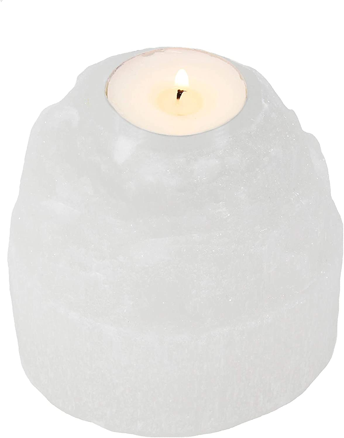 Dey Designs Selenite Tower Candle Holders - Healing Crystals - Crystal Healing - Home Décor - Natural Rough Selenite Stone - Tea Light Candle Holder