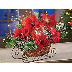 Collections Etc Fiber Optic Poinsettia Sleigh Centerpiece