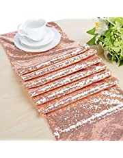 Choose Your Sizes Rose Gold Sequin Table Runner Overlay Sparkly Glitz Sequined Table Linen 14in by 80in
