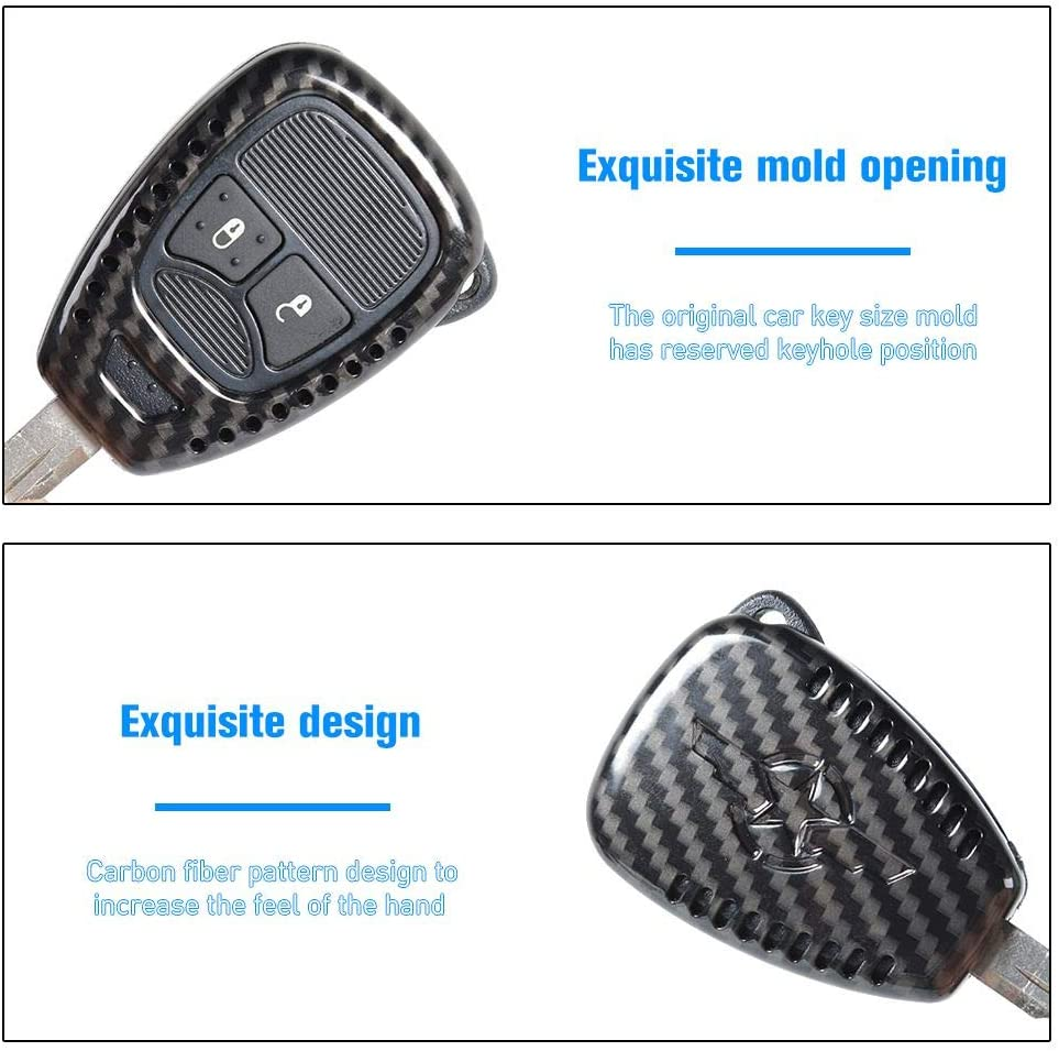Carbon Fiber 2pcs//set Key Replacement Accessories CheroCar for Jeep JK Key Fob Cover Skin Case Protection for Jeep Wrangler JK JKU 2007-2018