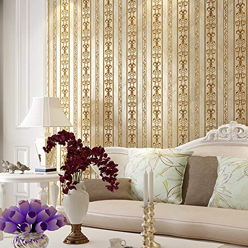 Blooming Wall Vintage French Damasks Gold Stripes Textured Wallpaper Wall Paper for Livingroom Kitchen Bedroom,20.8 In32.8 Ft=57 Sq.ft (Gold -