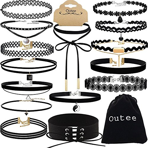 Choker Outee Womens Necklace Stretch