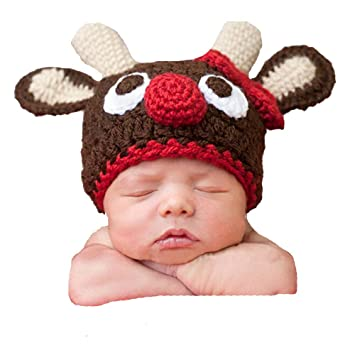 DAYAN Baby Christmas Deer Photographed Warm Winter Knit Crochet Hat Newborn  Baby Photography Props  Amazon.co.uk  Baby 479d87a6a499