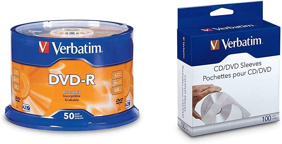 Verbatim DVD-R 4.7GB 16x AZO Recordable Media Disc - 50 Disc Spindle & CD/DVD Paper Sleeves-with Clear Window 100pk