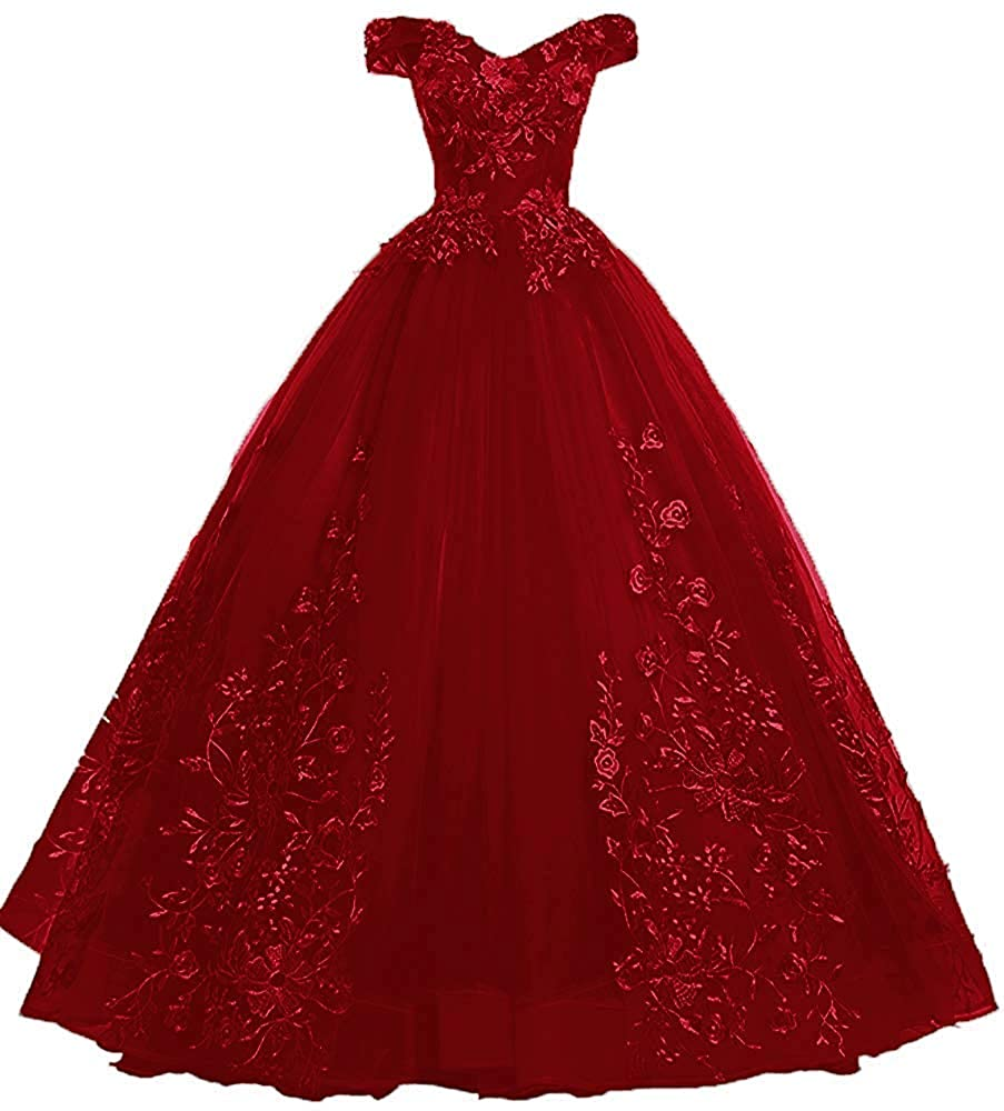 Burgundy LEJY Women's Vintage Off The Shoulder Quinceanera Dresses Masquerade Prom Ball Gowns 2019