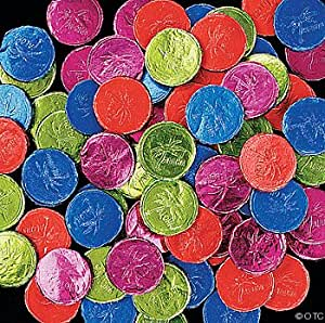 Fun Express Products - Luau Bubble Gum Candy Coins (100 pc) - Gum is fat-free.
