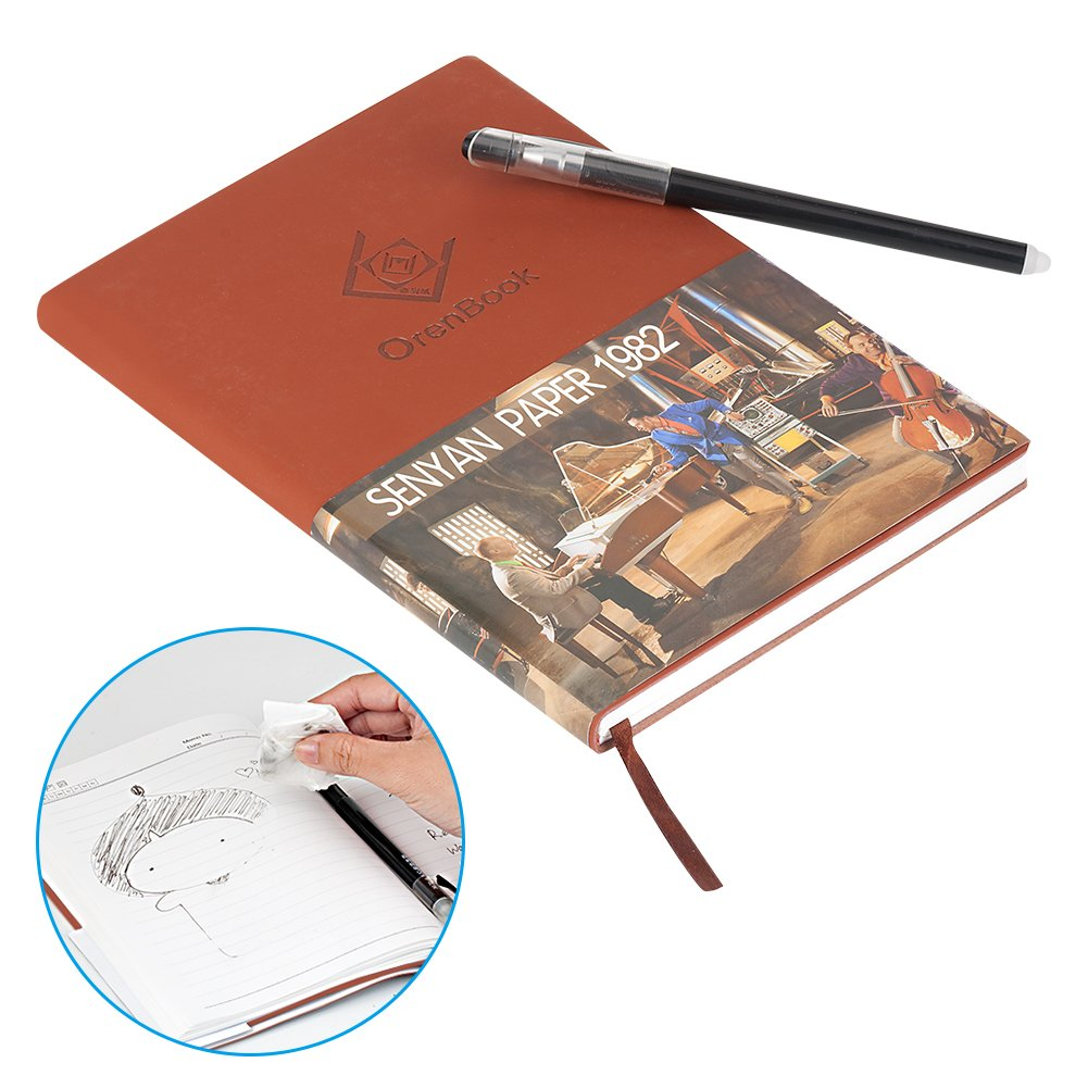 BAKTOONS Reusable Notebooks, Waterproof Evernote Smart Notebook with Pilot FriXion Pen Brown (Reusable Notebook, Brown)