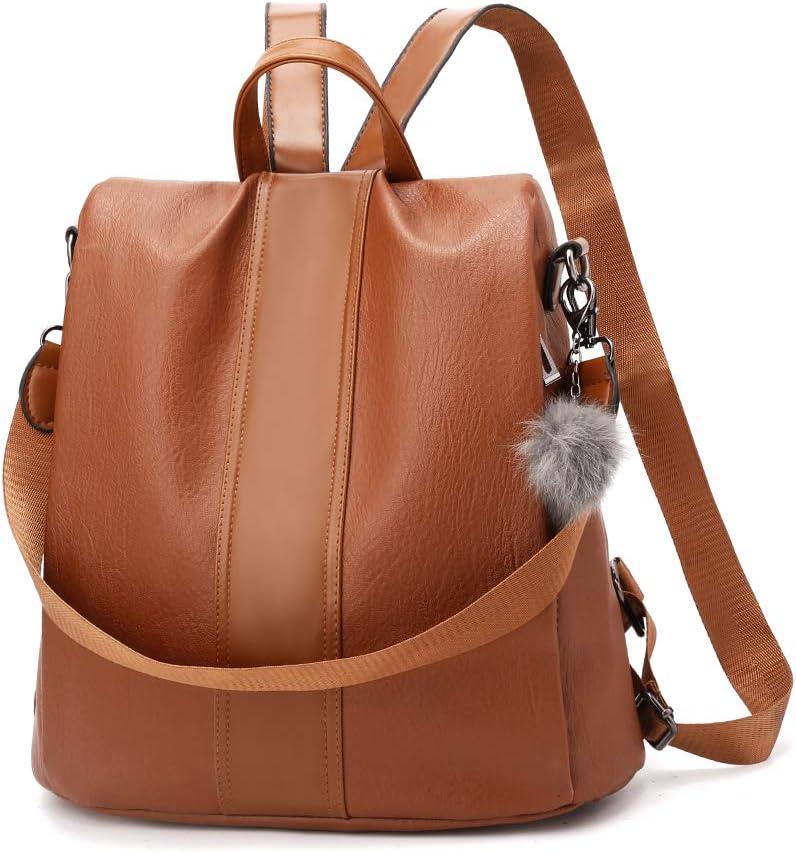 YOUNNE Women Backpack Purses PU Leather Anti-theft Rucksack Waterproof Daypack Casual Shoulder Satchel Bag (Brown)