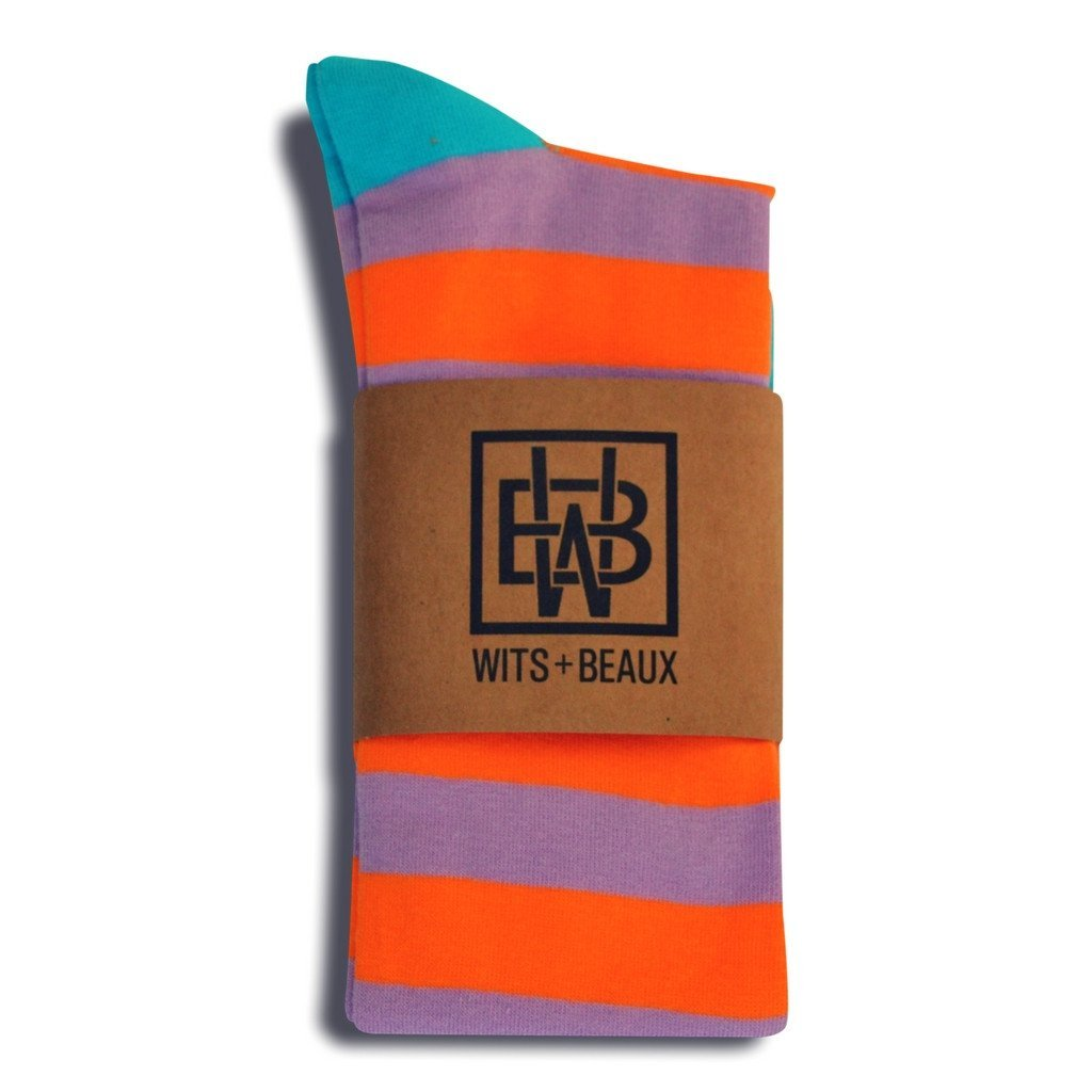 Wits + Beaux Mens Premium Stretch CottonPoly Over-The-Calf Summer Sunset Dress Socks