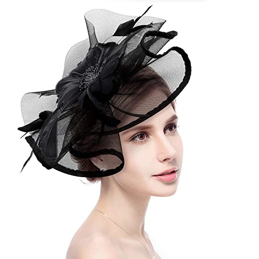 db1bef27e58d Fascinator Hat Jack & Rose Flower Feather Net Mesh Kentucky Derby Tea Party  Headwear with Hair