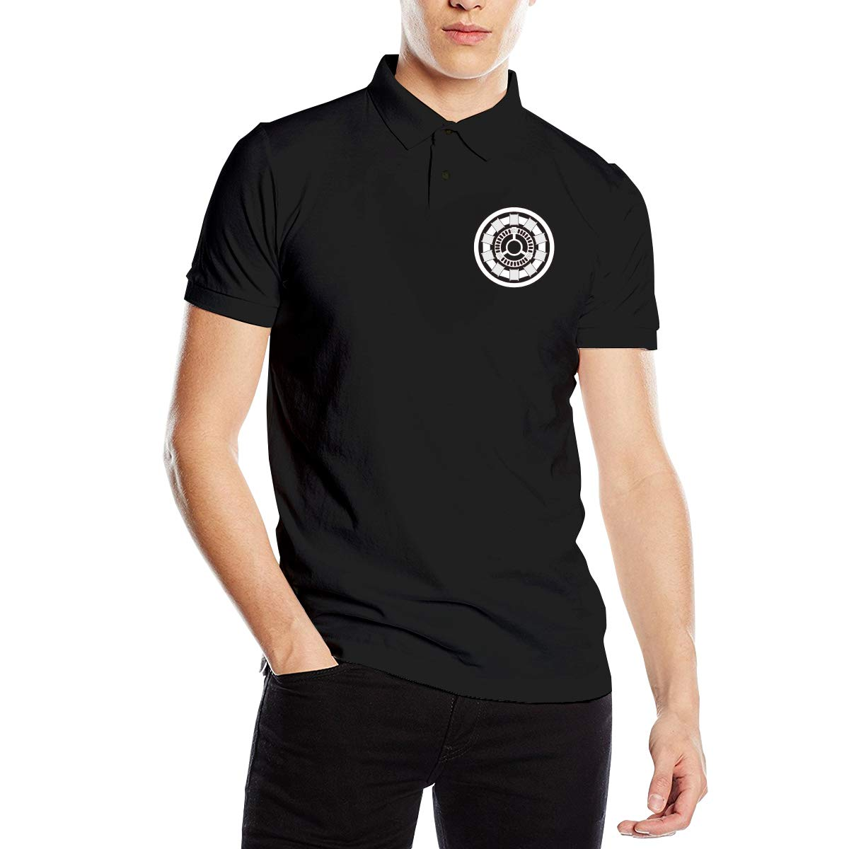 Runxin New Personalized Iron Man Fashion Polo T-Shirt Short Sleeve for Male Black
