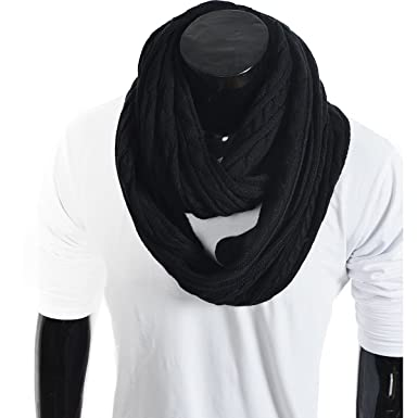 Stylish Men Cable Soft Knit Infinity Scarf Black At Amazon Mens