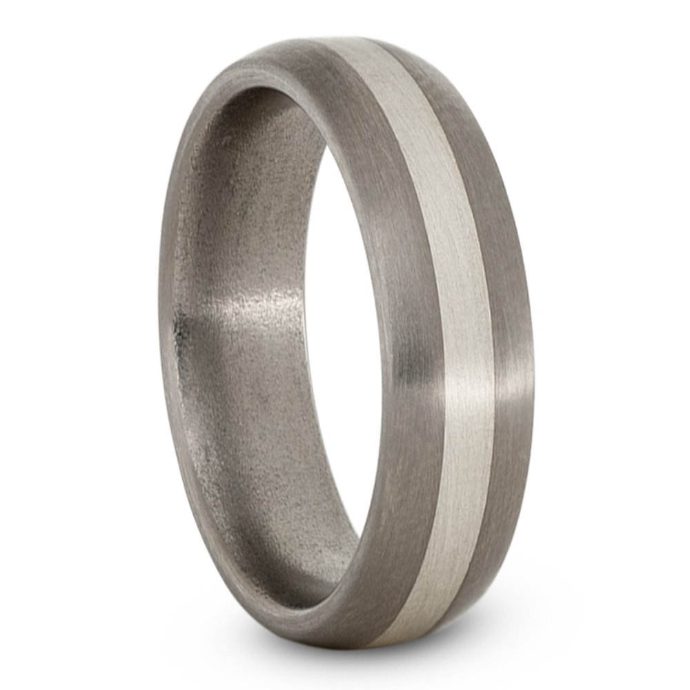 Satin Brushed Titanium, Sterling Silver 6mm Comfort-Fit Dome Wedding Band, Size 11