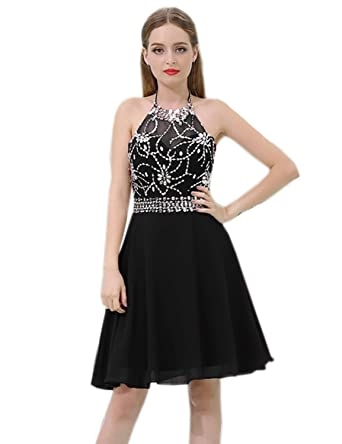 Belle House Short Homecoming Dresses for Juniors 2018 Halter Top Chiffon Prom Dress Ball Gown with