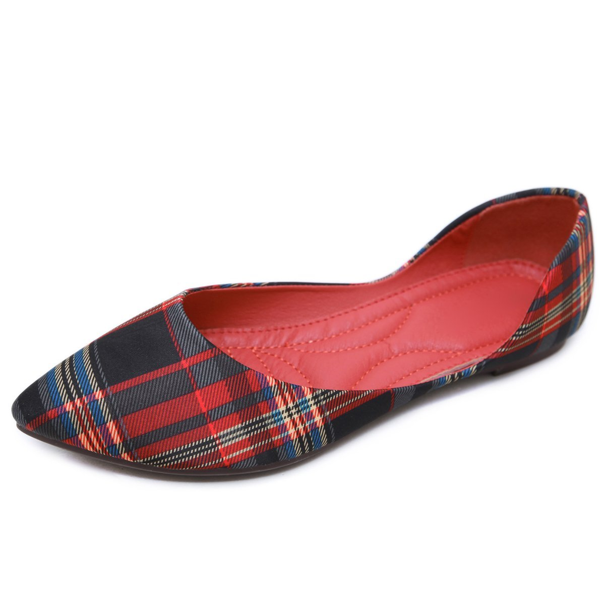 DeerYou Women's Classic Ballet Flat Pointed Toe Slip On Ballerina D'Orsay Flat Shoes Red US 9.5