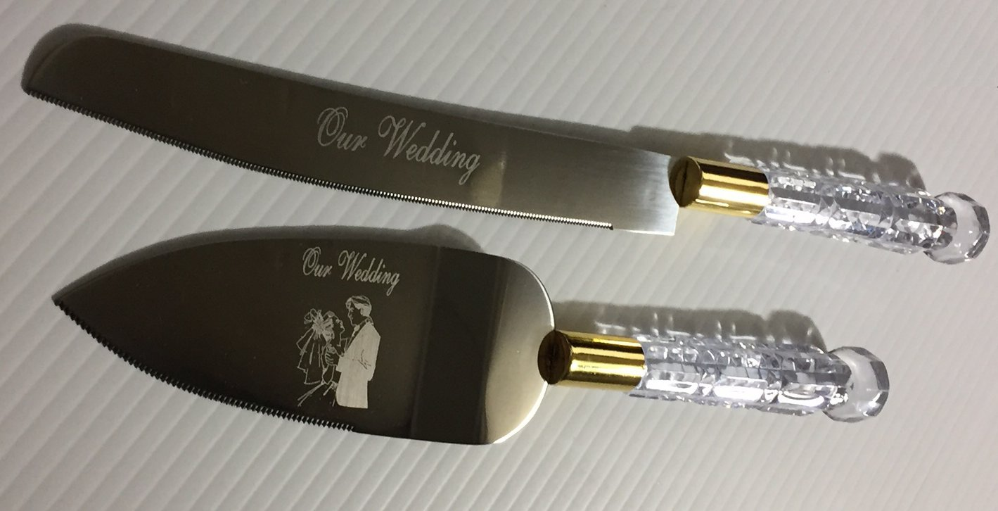 Our Wedding Cake Knife Set - Clear Handles With Gold