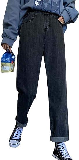 [MLboss]ジーンズ レディース デニムパンツ ゆったり ハイウエスト ジーパン ファッション ストレート Gパン オシャレ 着痩せ ワイドパンツ デニム 無地 ズボン