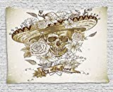 THndjsh Day Of The Dead Tapestry, Wooden Floral Leaves with Mexican Spanish Festival Hat Traditional Print, Wall Hanging for Bedroom Living Room Dorm, 60 W X 40 L Inches, Khaki Beige