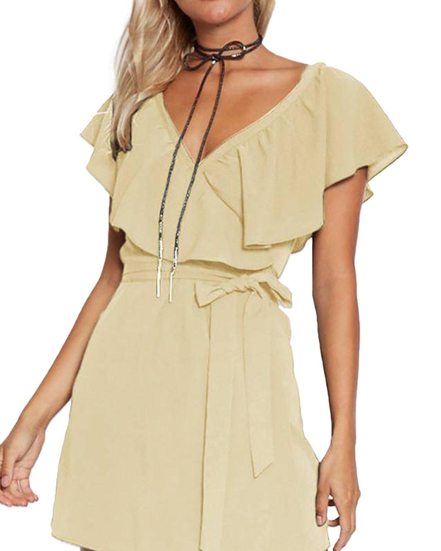 YOINS Kleid Damen Sommer Kurz V-Ausschnitt Schulterfrei Kleider Elegant Strandkleider Minikleid Partykleider YOINSXzesoil7776