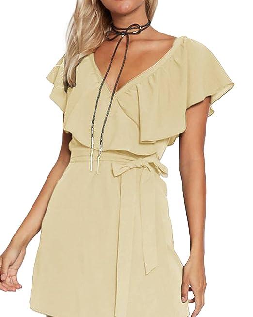 Strandkleider V Ausschnitt Kleider Sommer Kurz Schulterfrei Elegant Yoins Kleid Partykleider Damen Minikleid 0wk8OnP