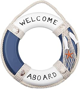 """Wooden Nautical Life Ring Decorative Life Ring Home Buoy Wall Door Hangings Decor Hanging Ornament Beach Theme Home Decoration, Blue&White(12.2"""" Inch,20 OZ)"""