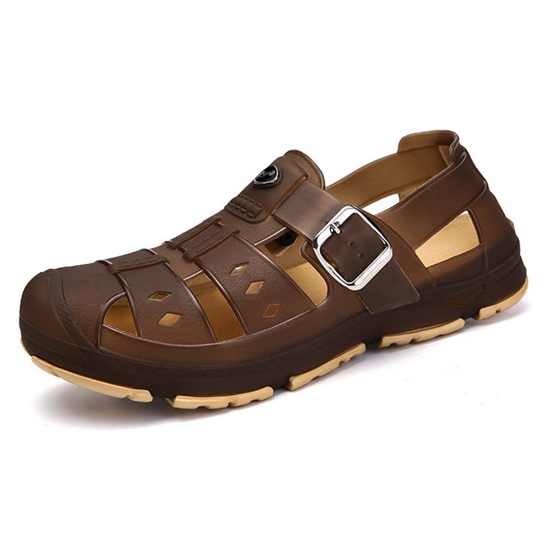 Sfit Herren Clogs Pantoffeln Sommer Loch Sandalen Schnell Trocknend Schuhe mit Schnalle Wasserschuhe Atmungsaktiv Hausschuhe Slipper Braun