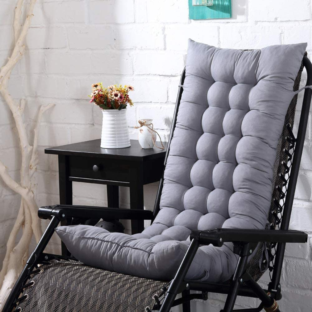 Thicken Lounger Cushion with Ties, Quilted Indoor Outdoor Bench Cushion Non Slip Patio Seat Pad Mat Long Chair Cushion-Grey 155x48cm(61x19inch)