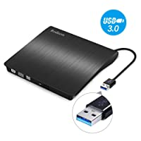 External DVD Drive, Rodozn USB 3.0 CD/DVD +/-RW Drive, Compact DVD CD ROM Writer/Rewriter/Burner, High Speed 5Gbps Compatible with Laptop/Desktop/Tablet/Chromebook Windows 7/8.1/10 and Linux OS-Slim