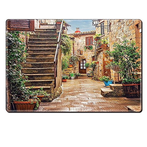 Mouse Pad Unique Custom Printed Mousepad Tuscan Decor View Of An Old Mediterranean Street With Stone Rock Houses In Italian City Rural Culture Print Multi Stitched Edge Non Slip Rubber - Tuscan Rock