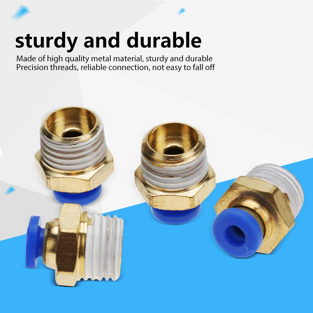 Samfox 4mm Air Pipe Pneumatic Quick Fittings Male Thread Straight Push in Connector Quick Fittings PC4-2 10pcs