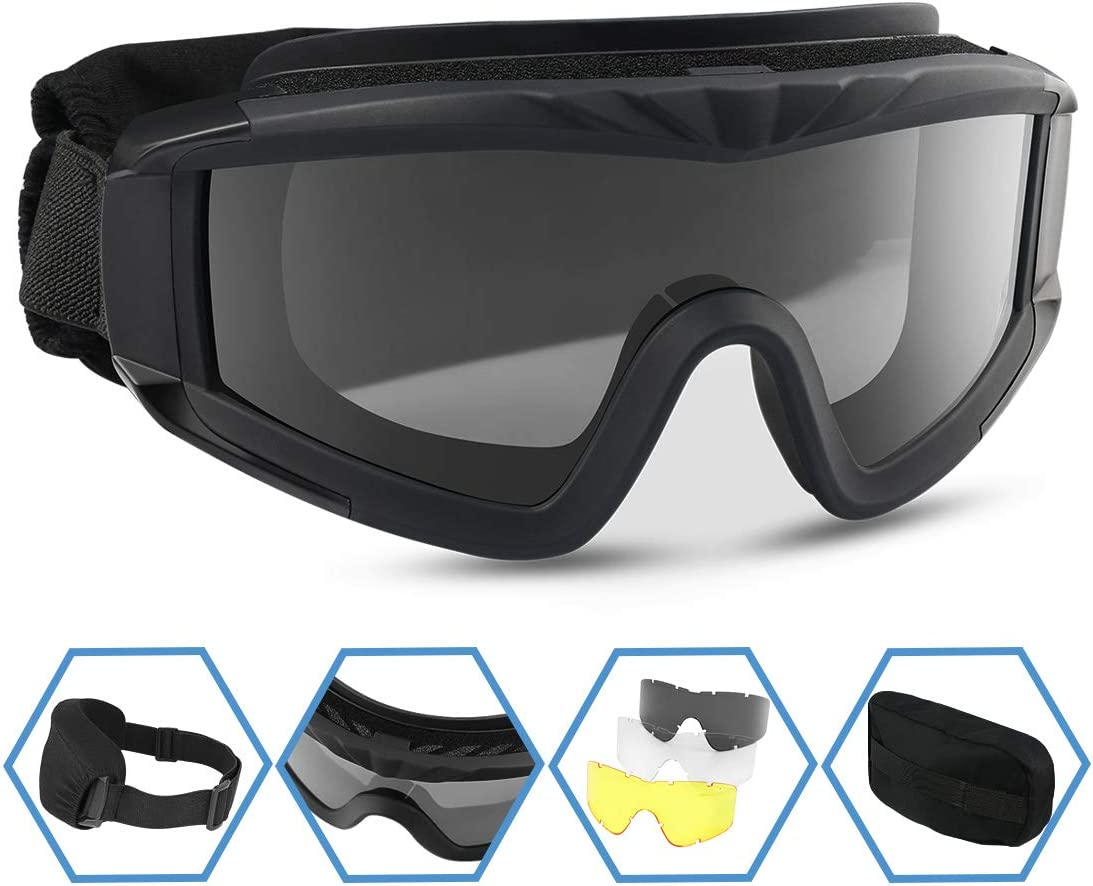 XAegis Airsoft Goggles, Tactical Safety Goggles Anti Fog Military Glasses with 3 Interchangeable Lens for Paintball Riding Shooting Hunting Cycling