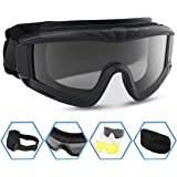 XAegis Airsoft Goggles, Tactical Safety Goggles Anti Fog Military Glasses with 3 Interchangeable Lens for Paintball…