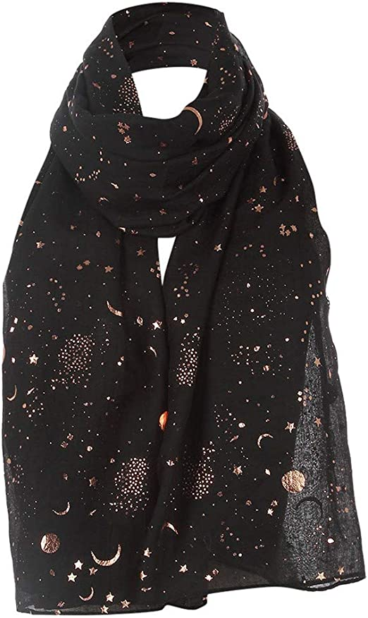 Oversized Soft Metallic Foil Print Glitter Night Sky Print Scarf Gift for Her