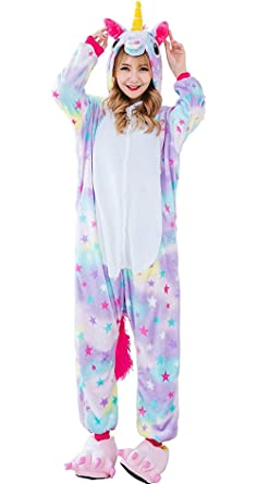 838ced89df82 wonsain Adults Animal Pajamas Unicorn Cosplay Costume Party Wear Flannel Sleepwear  Onesie Pajamas for Women Men