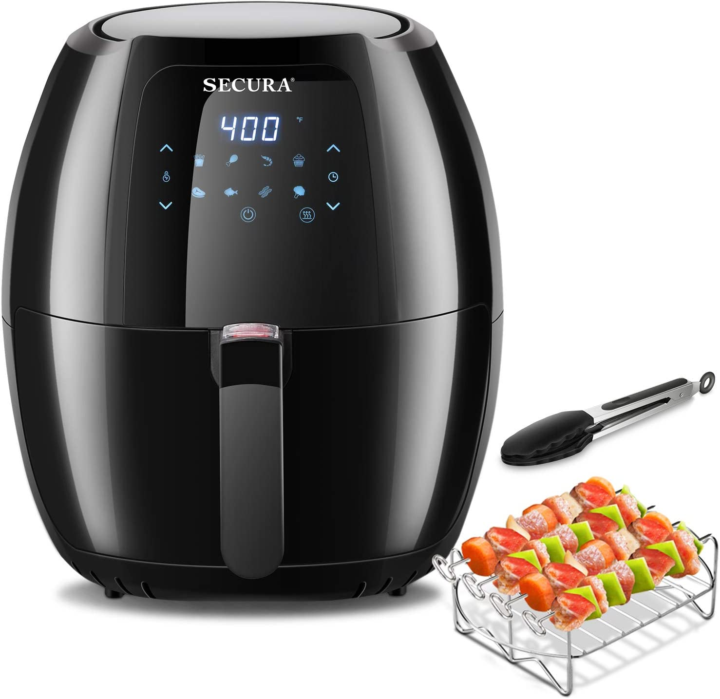 Secura Max 6.3Qt Air Fryer, 1700W Digital Hot Air Fryer | 10-in-1 Oven Oilless Electric Cooker w/Preheat & Shake Remind, 8 Cooking Presets, Nonstick Basket,ETL Listed (Bonus BBQ Rack & Skewers)