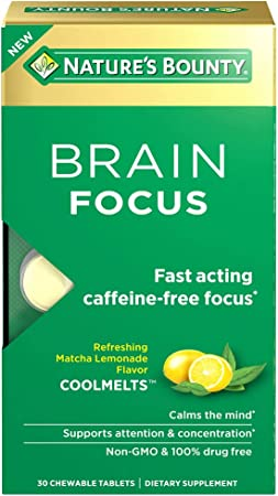 Nature's Bounty Brain Focus CoolMelt Chewable Tablets for FastActing CaffeineFree Focus, 30 Count