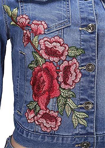 Giacca Stile Fashion Elegante Moda Vintage Bavero Ragazza Ricamate Caftano Casual Lunghe Primaverile Maniche Giacche Tendenza Donna Jeans Autunno Blu Streetwear Cappotto aqZ8da