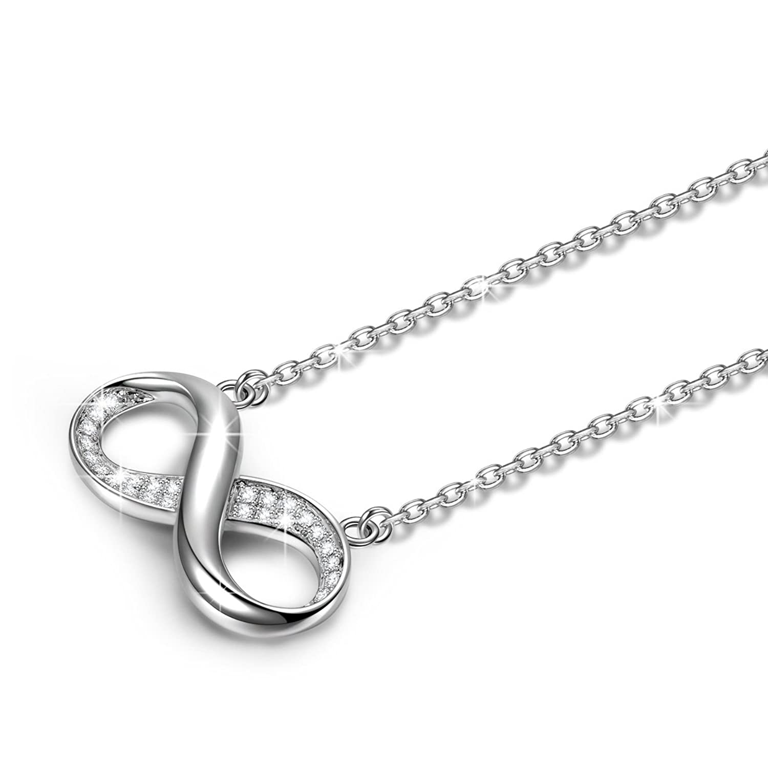 LADY COLOUR Infinity Pendant Necklace for Women with Crystals from SWAROVSKI® - Allergen-free and Passed SGS Inspection 5qfp9LrQl