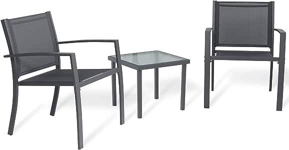 Sigtua Conjunto de Muebles de Jardín de 3 Piezas Muebles de Exterior, Interior, 2 Sillones + Mesa de Vidrio para Terraza, Piscina, Porche, Jardín, Balcón, Gris Oscuro: Amazon.es: Jardín