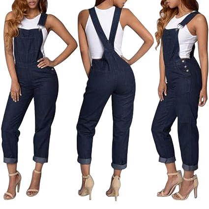 b52077ea09f Livoty Women Suspenders Denim Long Playsuit Jumpsuit Sleeveless Fashion  Solid Pants Autumn Winter (S