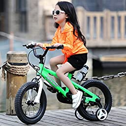 RoyalBaby BMX Freestyle Kids Bike, Boy\'s Bikes and Girl\'s Bikes with training wheels, Gifts for children, 16 inch wheels, White